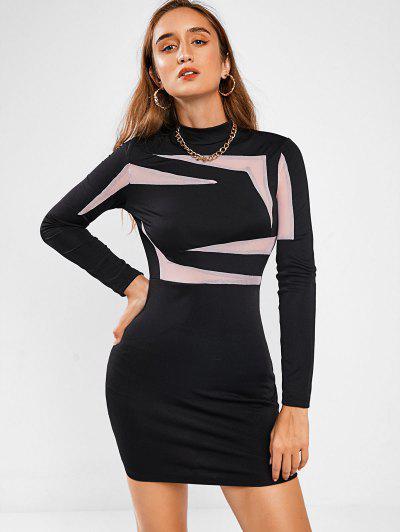 Mesh Panel Two Tone Sheath Dress - Black M