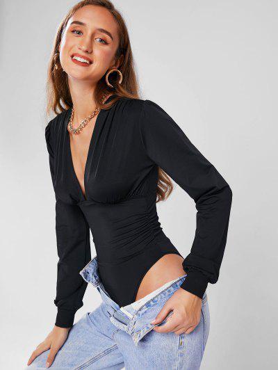 Plunge Neck Bishop Sleeve Ruched Bodysuit - Black L