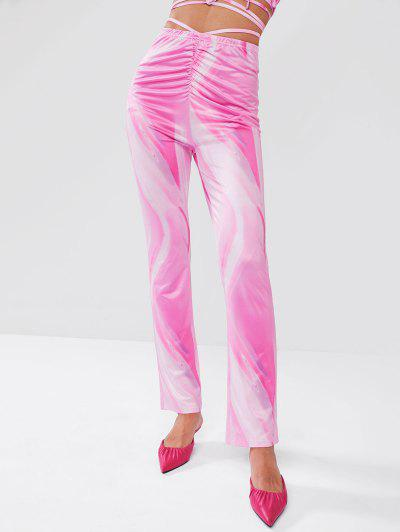 ZAFUL Psychedelic Print Ruched Midriff Flossing Pants - Light Pink L