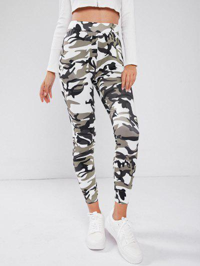 High Waisted Camouflage Patterned Leggings - Green L
