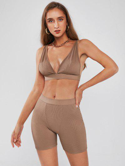 Ribbed High Waisted Sport Shorts Set - Coffee S