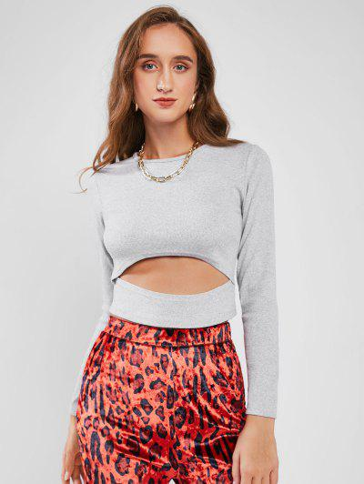 Crew Neck Ribbed Cut Out Cropped Tee - Light Gray