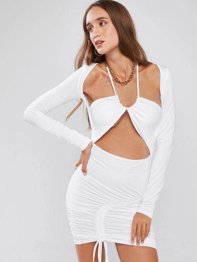 String Cutout Halter Cinched Long Sleeve Slinky Dress - White L