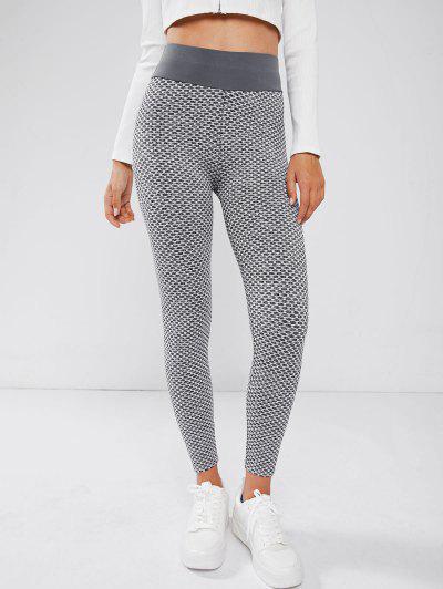 Honeycomb Scrunch Butt Yoga Leggings - Gray M