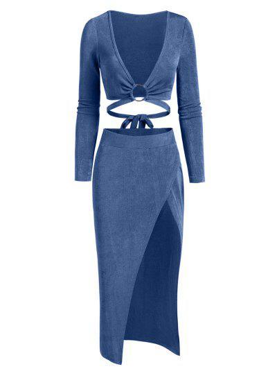 ZAFUL Jersey Ring High Split Two Piece Skirt Set - Blue Xl