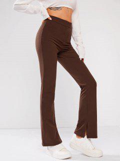 Solid High Waisted Split Hem Flare Pants - Coffee S