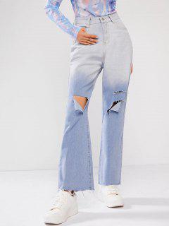 Jeans De Pierna Ancha Rasgados De Teñido - Azul Claro L