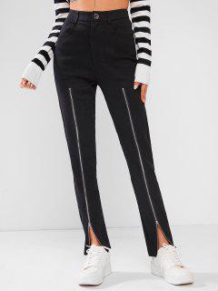 ZAFUL High Waisted Double Zipper Skinny Pants - Black Xl