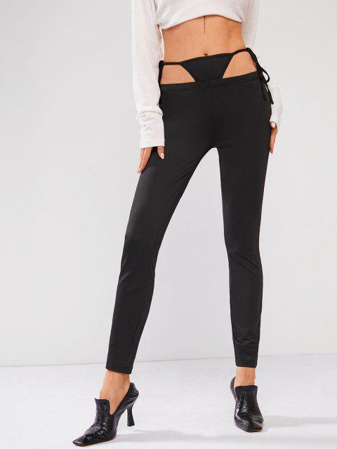 affordable ZAFUL High Waisted Built-in G-string Skinny Leggings - BLACK L Mobile