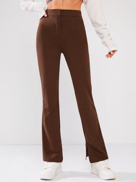 Pantalones Acampanados de Cintura Alta - café S Mobile