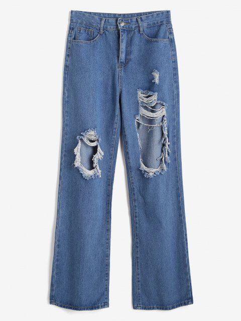 Zerrissene Baggy Breites Bein Jeans - Blau M Mobile