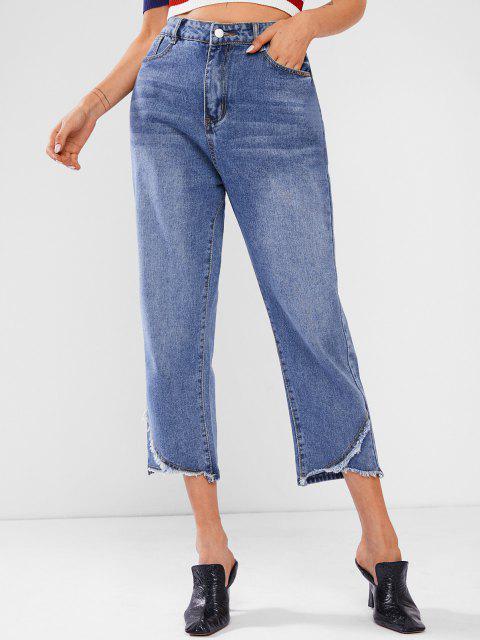 Baggy Jeans mit Ausgefranstem Saum - Tiefes Blau M Mobile