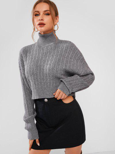 Turtleneck Cable Knit Cropped Sweater - Dark Gray S