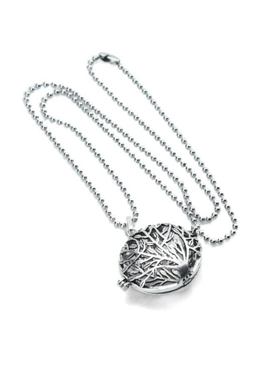 ladies Hollow Tree Pattern Locket Necklace - SILVER