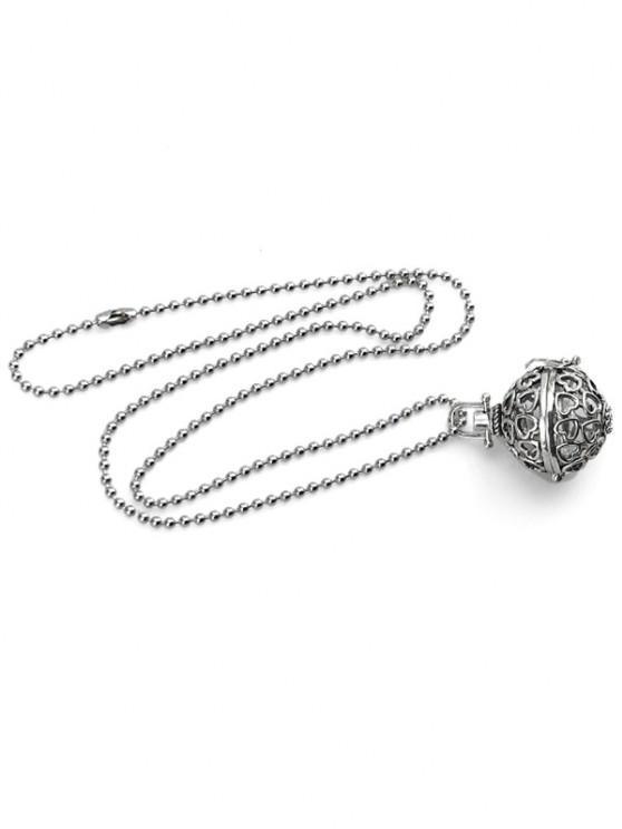 Herzmuster Hohle Kugel Medaillon Halskette - Silber