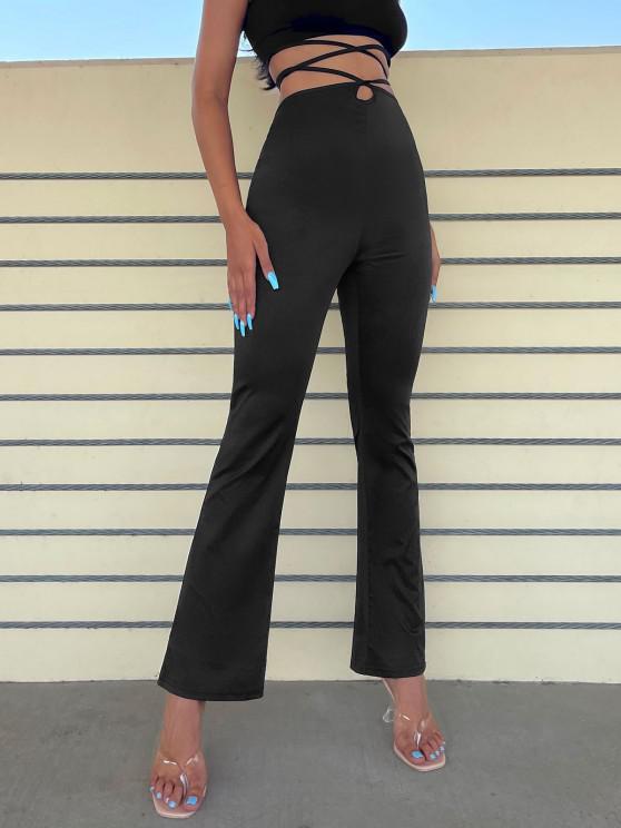 chic Midriff Flossing Bootcut Pants - BLACK S