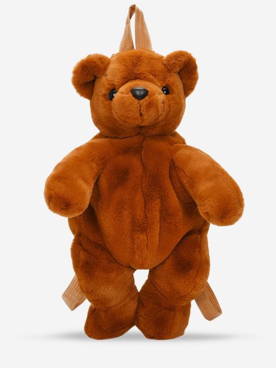 affordable Fluffy Cartoon Bear Backpack - BROWN