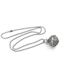 Heart Pattern Hollow Ball Locket Necklace - Silver