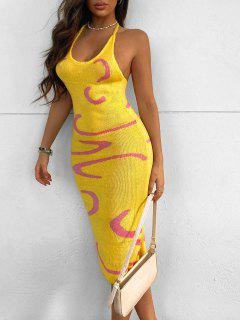 Pullover Kleid Mit Grafik Und Offenem Rücken - Gelb S