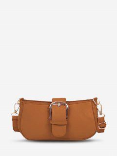 Faux Leather Buckle Embellished Crossbody Bag - Brown