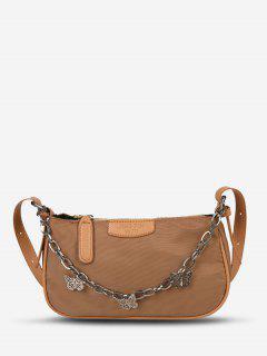 Double Strap Butterfly Detail Crinkle Shoulder Bag - Brown