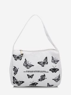 Letter Butterfly Print Tote Bag - Milk White