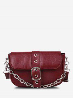 Croc Print Chain Crossbody Bag - Red Wine