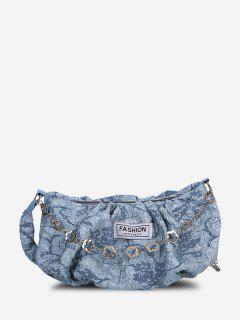 Creased Print Floral Chain Crossbody Bag - Light Blue
