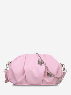 Faux Leather Butterfly Detail Ruched Crossbody Bag - Pink