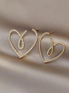 Hohle Herz Asymmetrische Ohrringe - Golden