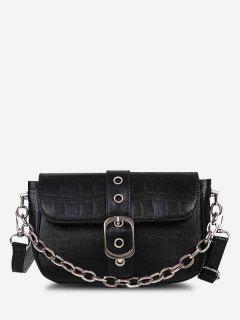 Bolsa Cadena Cruzada Crochet - Negro