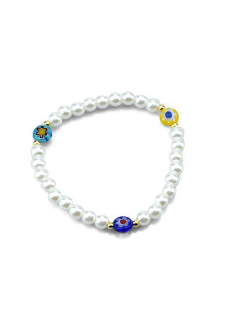 Künstliche Perlen Elastisches Armband - Weiß  Mobile