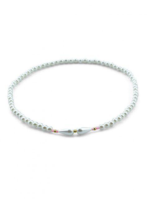 Künstliche Perle Wassertropfen Geschichtetes Armband - Weiß  Mobile