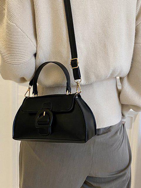 Umhängetasche aus Kunstleder mit Schnalle - Schwarz  Mobile