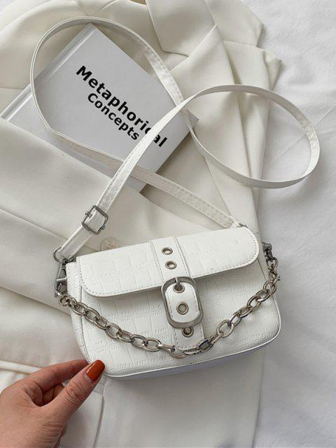 Croc Print Kette Crossbody Bag - Weiß  Mobile