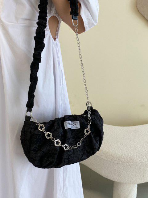 Gefangene Druckblumenkette Crossbody Bag - Schwarz  Mobile