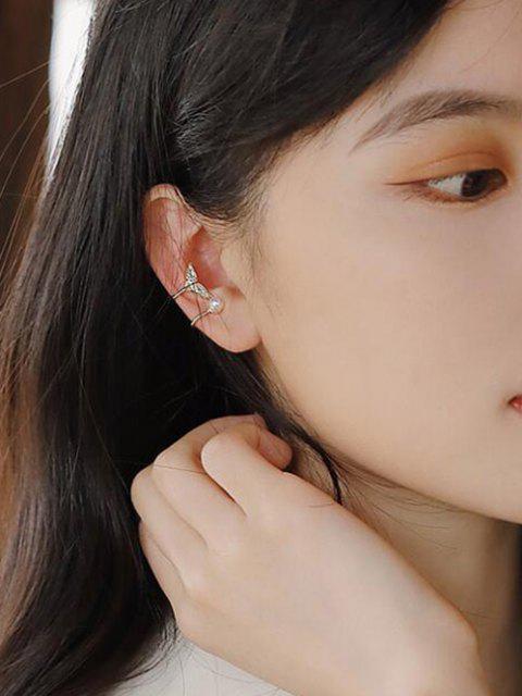Fischschwanz Künstliche Perle Ohr Manschette - Golden  Mobile