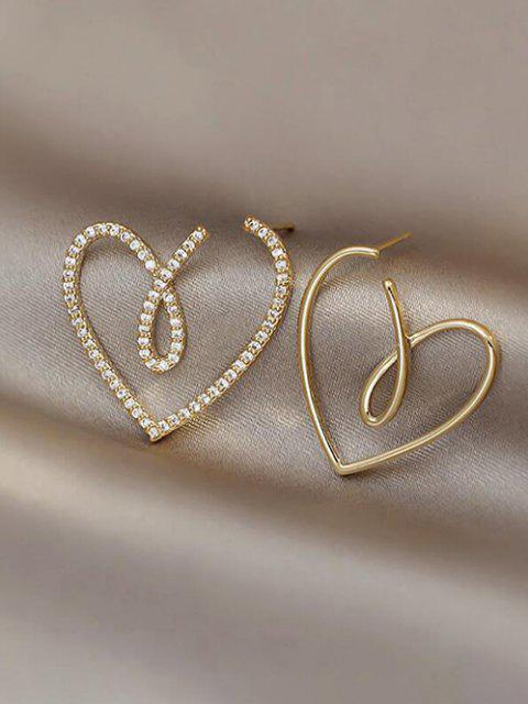 Hohle Herz Asymmetrische Ohrringe - Golden  Mobile