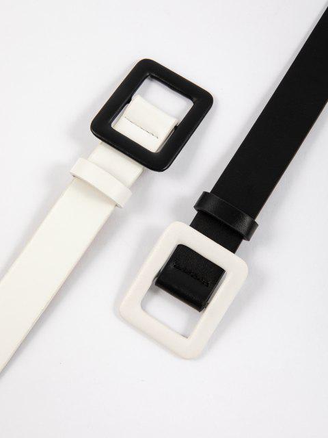 2pcs Minimalistischer Schnalle Gürtel Set - Schwarz  Mobile