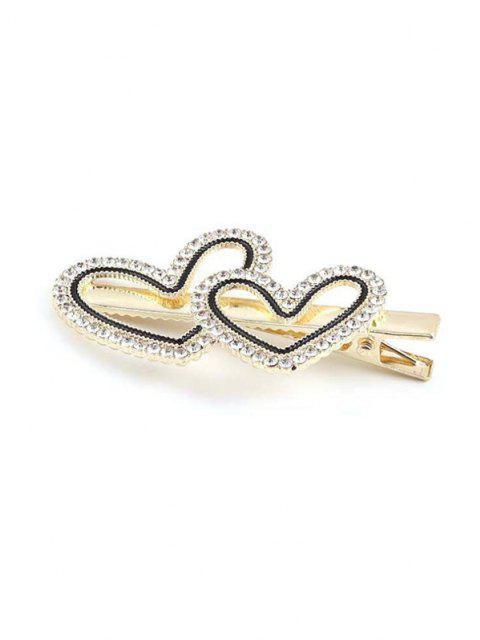 Doppelte Herz Strass Haarspange - Golden  Mobile