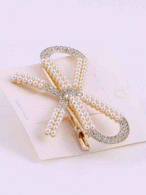 Bowknot Künstliche Perle Haarspange - Golden  Mobile