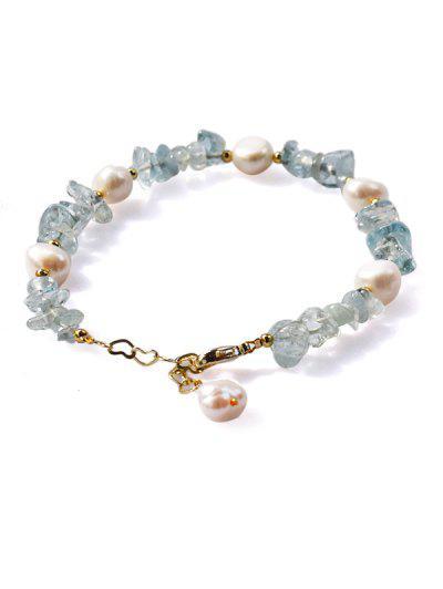Irregular Faux Blue Crystal Pearl Beaded Chain Bracelet - Tron Blue
