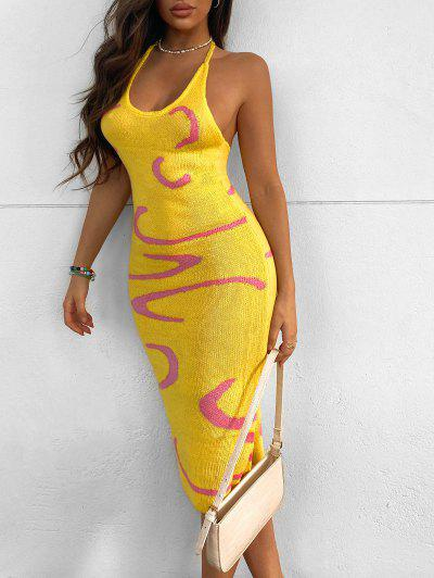 Graphic Halter Open Back Sweater Dress - Yellow S