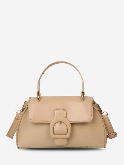 Buckle Detail Faux Leather Crossbody Bag - Light Khaki