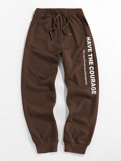ZAFUL Drawstring Slogan Graphic Jogger Sweatpants - Deep Coffee S