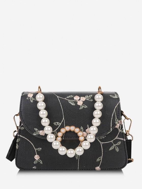 Künstliche Perle Umhängetasche mit Blumenmuster - Schwarz