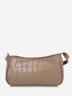 Animal Texture Chain Detail Shoulder Bag - Light Khaki