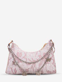 Chain Strap Butterfly Detail Crinkle Shoulder Bag - Pink