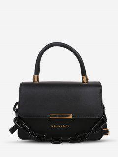 Chain Embellishment Tote Crossbody Bag - Black