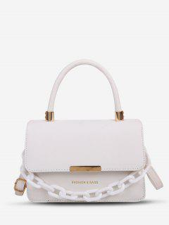 Chain Embellishment Tote Crossbody Bag - White